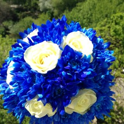 Buchete mireasa si nasa ieftine din crizanteme albastre si trandafiri