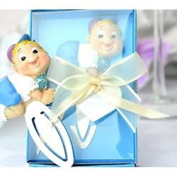 Marturii botez ieftine pentru baieti DG209 – semn de carte bebe bleu – 9,5 x 6 cm – 7 lei/buc
