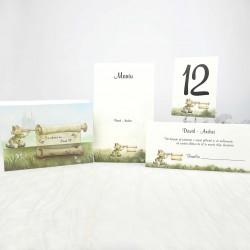 Set botez 15110: invitatii, place carduri, numere mese, meniuri
