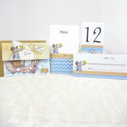 Set botez 15511: invitatii, place carduri, numere mese, meniuri