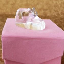 Marturii ieftine botez fete C025S2P: botosel sticla – 3,5 x 2 cm – 4,5 lei /buc (pretul include cutiuta roz)