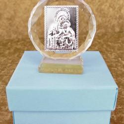Marturii ieftine botez baieti: iconita sticla C15761PB – 6 cm – 7 lei/buc (pretul include cutiuta bleu)