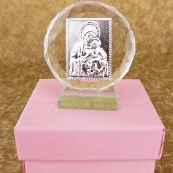 Marturii ieftine botez fete: iconita sticla C15761P – 6 cm – 7 lei/buc (pretul include cutiuta roz)