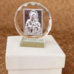 Marturii ieftine botez baieti si fete: iconita sticla C15763C – 6 cm – 7 lei/buc(pretul include cutiuta)