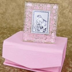 Marturii ieftine botez fetite C30802-P: iconita sticla cu margine roz – 2 x 6 cm – 7 lei/buc(pretul include si cutiuta roz)