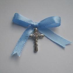 Cruciulite botez baieti cu pietricica alba  C007 – 2 lei/buc (culoarea funditei poate fi modificata in functie de preferinte si tematica aleasa)