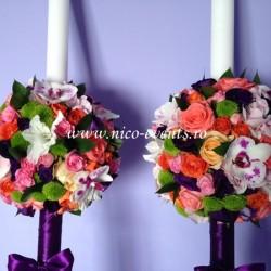 Lumanari nunta cu lisantius, trandafiri si santinii verde LN015 – 699 lei/perechea
