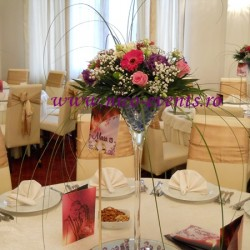 Aranjamente florale nunta mini gerbera, floarea miresei, lisantius, santinii si trandafiri – nunta Restaurant Cernica – AN 001 – 90 lei