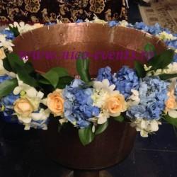Cristelnita botez baietel ieftina cu orhidee dendrobium , hortensie si trandafiri CB003