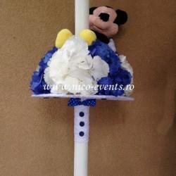 Lumanari botez baiat cu hortensie si Mickey Mouse LBN018