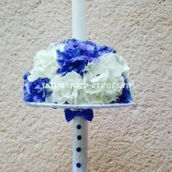 Lumanari botez baiat cu hortensie albastra si alba LBN013