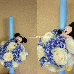 Lumanari botez baiat cu hortensie, trandafiri si Mickey Mouse LBN019