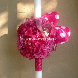 Lumanari botez fete cu hortensie roz, orhidee cymbidium si urechi Minnie Mouse LBN017