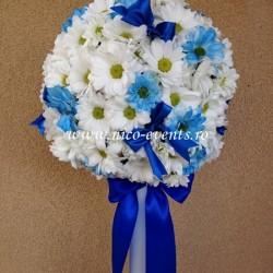 Lumanari ieftine pentru botez cu crizantema LBN011