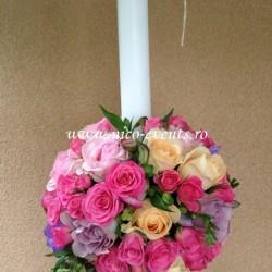 Lumanari botez fetite cu trandafiri, miniroze si astromelia LBN006