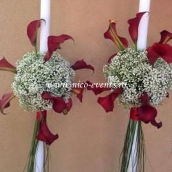 Lumanari nunta cu cale si gipsofila LN018 – 599 lei/perechea