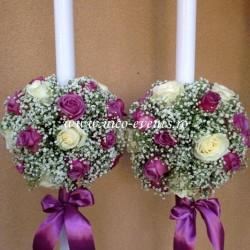 Lumanari nunta floarea miresei si trandafiri lila LN010 – 799 lei/perechea