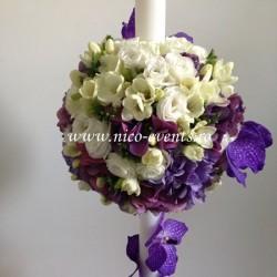 Lumanari nunta cu frezii albe, lisantius mov, cupe orhidee vanda si hortensie mov LN036 – 999 lei/perechea
