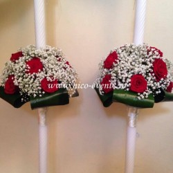Lumanari nunta cu trandafiri grena si floarea miresei LN035 – 499 lei/perechea
