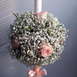 Lumanari nunta cu trandafiri,lisiantus alb si floarea miresei  LNB34- 549 lei/perechea