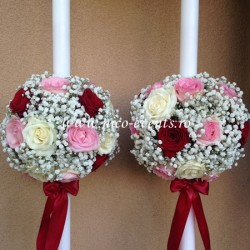 Lumanari nunta floarea miresei, trandafiri grena, trandafiri roz pal si trandafiri albi LN021 – 649 lei/perechea
