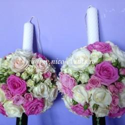Lumanari nunta cu trandafiri si miniroze LN020 – 769 lei/perechea