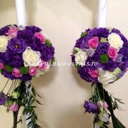Lumanari nunta cu lisantius, trandafiri si santinii verde LN014 – 729 lei/perechea