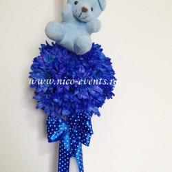Lumanari ieftine botez baietel cu crizanteme albastre  LBN001