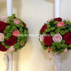 Lumanari nunta cu santinii verde si trandafiri LN008 – 799 lei/perechea