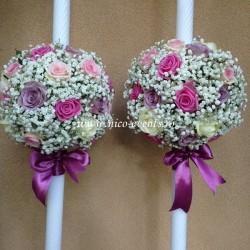 Lumanari nunta cu gipsofila, trandafiri roz pal si aqua, trandafiri lila LN006 – 699 lei/perechea