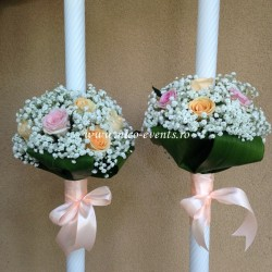 Lumanari nunta cu trandafiri si gipsofila LN004 – 499 lei /perechea