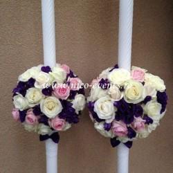 Lumanari nunta cu trandafiri albi si lisantius mov LN003 – 799lei/perechea