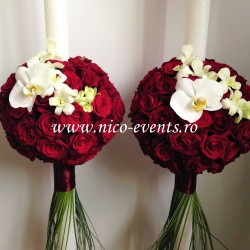 Lumanari cununie 1,2 m inaltine cu trandafiri grena si orhidee LN062 -899 lei/perechea