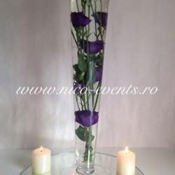 Aranjamente florale nunta cu lisantius scufundat si lumanari AN031-30 lei