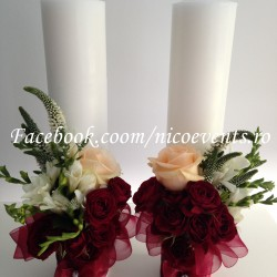 Lumanari cununie tip stalp 40 cm inaltime cu trandafiri, miniroze, frezii si veronica LN040 – 339 lei-